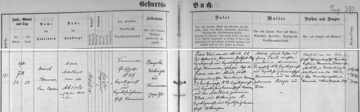 """Z německého záznamu českokrumlovské křestní matriky o narození dcery jeho bratra Franze Karla vysvítá, že kněz nevěděl, nad kterým """"e"""" v příjmení Abeéle má být vlastně čárka, a že jméno Adelheid, které nosila matka obou bratří Adéla, roz. Klenčová (zde Adelheid, geb. Klenz) z Třeboně, kmotra dítěte, zastupovaná zde svou dcerou Mathilde, stalo se i druhým křestním jménem novorozené"""