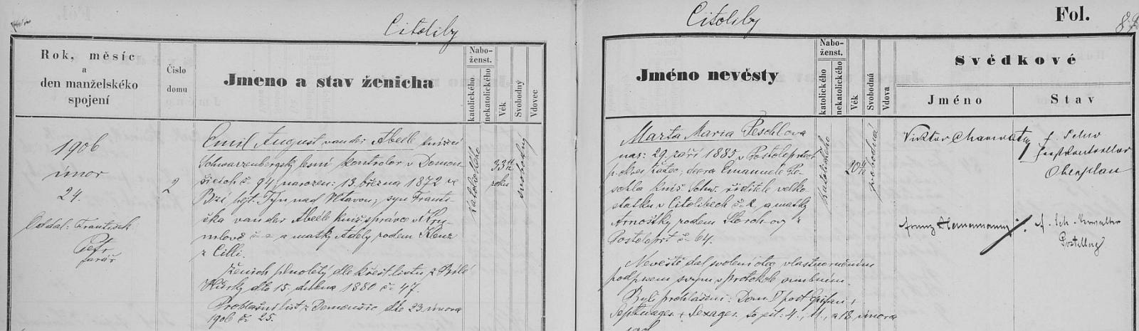 Záznam o jeho první svatbě v Citolibech...