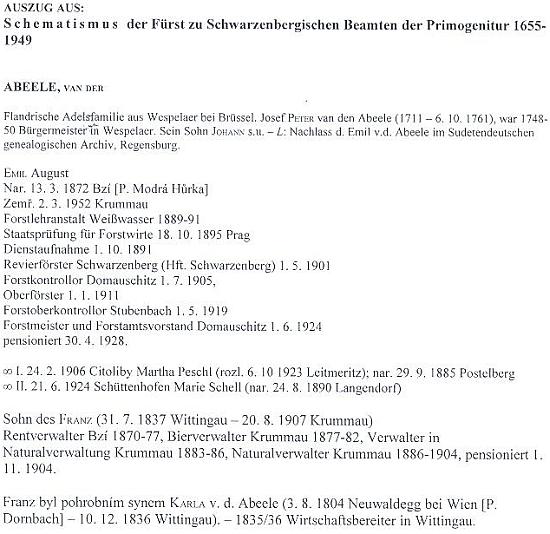 Výtah ze schematismu knížecích schwarzenberských úředníků na jeho jméno