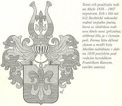 Vysvětlení Viléma Kudrličky k erbu, který rodina Abeleova užívala v letech 1838-1907 neprávem