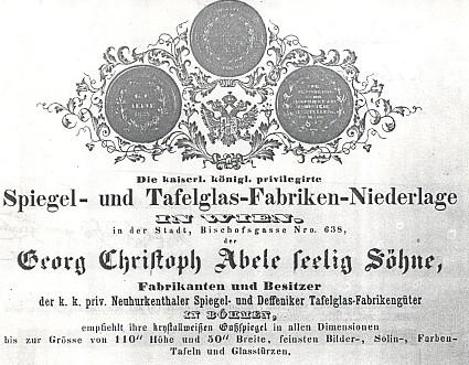 Reklamní tabule abeleovských skláren z roku 1840