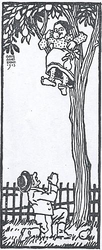 Podepsaná ilustrace k vlastní povídce v šumavském kalendáři