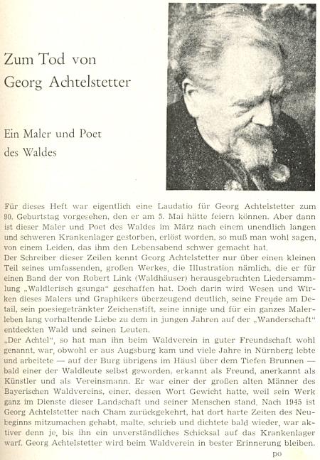 """Jeho nekrolog v časopise """"Der Bayerwald"""", který šifrou """"po"""" podepsal zřejmě Adalbert Pongratz"""