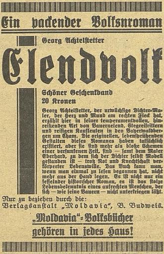 """Inzerát na jeho """"poutavý lidový román"""" na stránkách českobudějovického německého listu"""