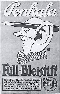 Reklamní plakát na tužky Penkala s umělcovou signaturou