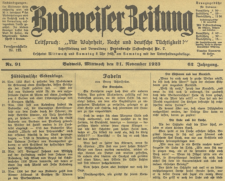 """Jeho bajky na první straně německých budějovických novin v roce, kdy ve zdejším nakladatelství """"Moldavia"""" vyšel ijeho román """"Elendvolk"""""""