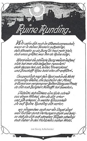 Jeho báseň o hradě Runding, kterou graficky rovněž sám vyzdobil
