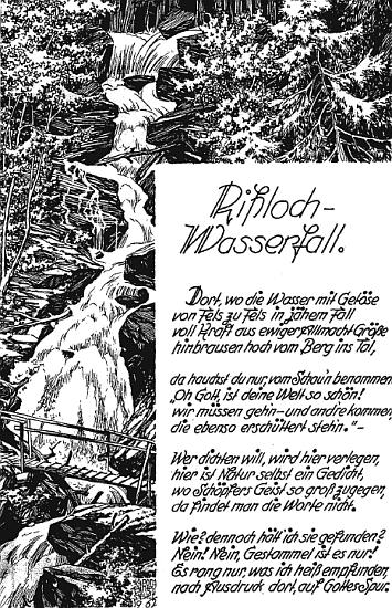Báseň a kresba z roku 1967 mají za námět vodopád Rißloch v Bodenmais