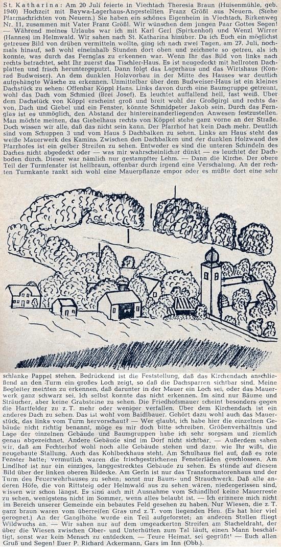 O dovolené v Helmwaldu roku 1960 se díval přes hranice na Svatou Kateřinu a popsal její stav velice podrobně i s připojenou kresbou