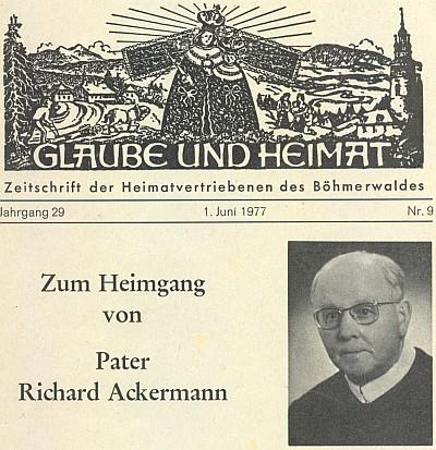 Záhlaví nekrologu v Glaube und Heimat