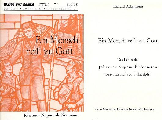 Obálka a titulní list zvláštního čísla Glaube und Heimat s jeho životopisem Jana Nepomuka Neumanna