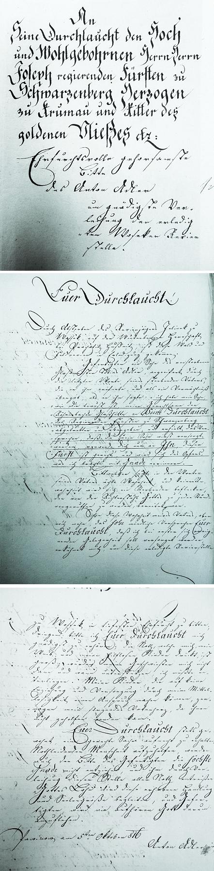 Adlerova vlastnoruční podepsaná žádost knížeti o místo revírníka v Osekách, datovaná v Pavinově 5. října roku 1816