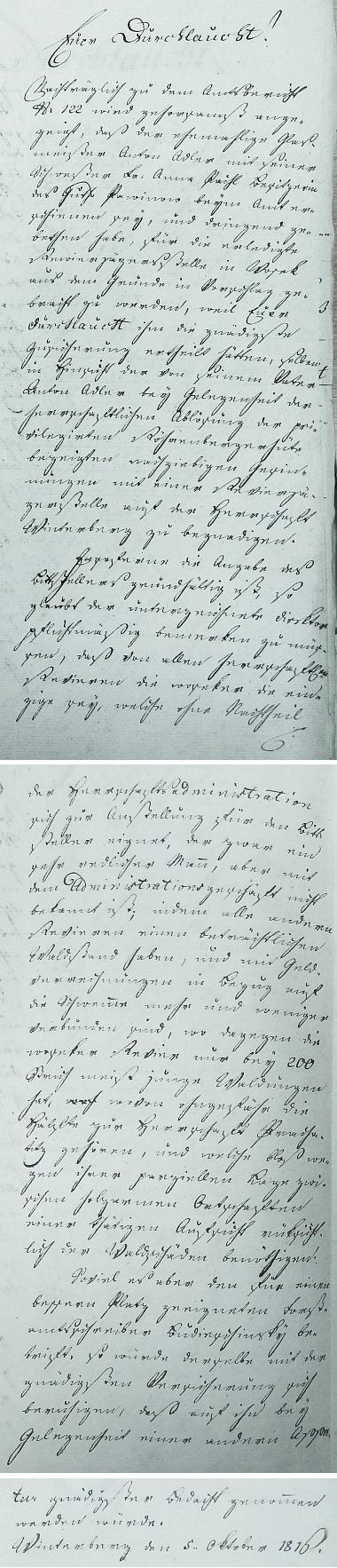 Žádost o místo revírníka v Osekách, podaná knížeti vimperskou kanceláří s datem 5. října 1816