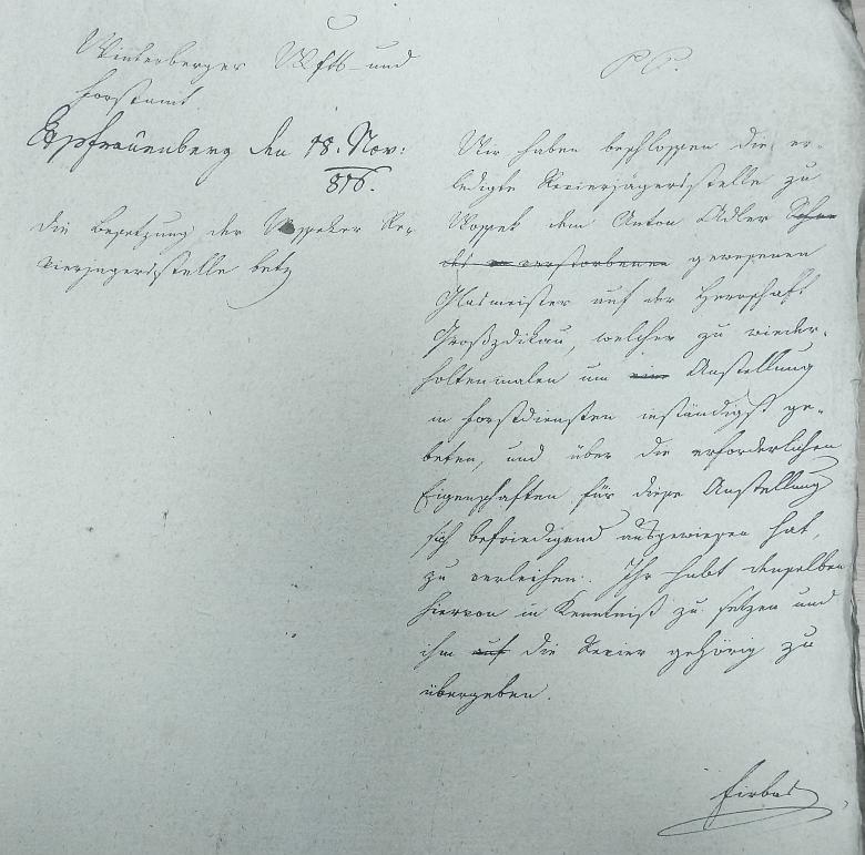 Kladné vyřízení jeho žádosti z 5. října 1816, datované v Hluboké nad Vltavou 18. listopadu 1816