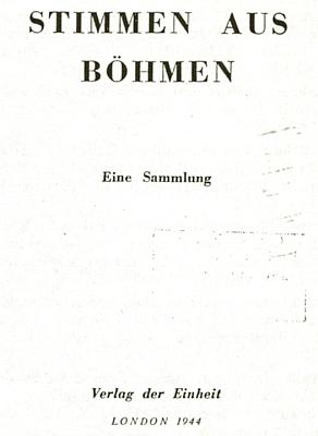 """Titulní list antologie """"Stimmen aus Böhmen"""", kterou roku 1944 vydal vLondýně exilový komunista Pavel Reiman (Paul Reimann) a kde je """"Urban Roedl"""" také zastoupen"""