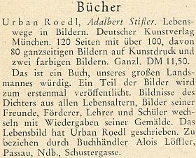 Pochvalná zpráva o jeho knize ke Stifterovu jubileu v roce 1955 nastránkách krajanského měsíčníku