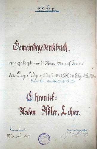 Titulní list pivoňské pamětní knihy se jménem kronikářovým