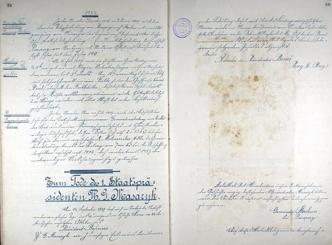 Stránky kroniky se záznamem o smrti prezidenta Masaryka
