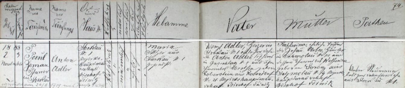 Záznam o jeho narození v křestní matrice farní obce Pivoň