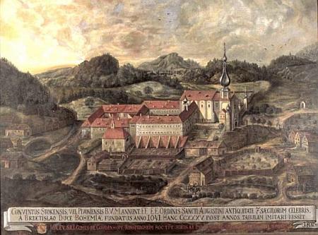 Klášter Pivoň na vyobrazení z počátku 18. století...