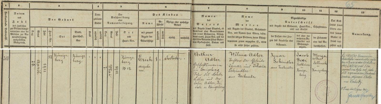 Záznam o narození jeho otce v kynšperské židovské matrice i s přípisem o změně příjmení v roce 1947