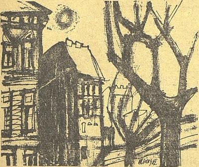V Jihočeské pravdě vyšly v letech 1963 a 1965 i tyto dvě kresby s budějovickými motivy