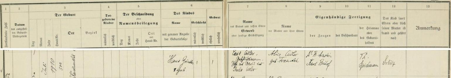 """Podle tohoto záznamu židovské matriky tehdy ještě samostatného, dnes pražského Karlína narodil se tu na německé adrese """"Karolinenthal Nr. 500"""" dne 2. července roku 1910 obchodníku Emilu Adlerovi, synu Davida a Pauly Adlerových, a jeho ženě Alici, roz. Fraenkelové - jako svědci jsou psáni Dr. R. Arnstein a Kurt Beihof, o obřízce záznam buď mlčí nebo k ní nedošlo, jako cizí místo, kam přísluší dítě včetně svých rodičů či pouze včetně své matky, je tu uvedena obec Srbice (Srbitz), dnes jen část obce Mochtín, okr. Klatovy"""