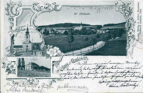 Stará pohlednice, na níž je Omlenice zvěčněna Josefem Seidelem