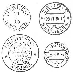 Poštovní razítka Zejbiše, dnes Javorné