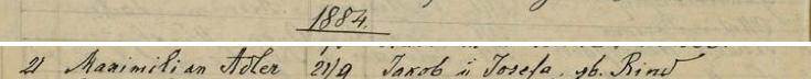 Seznam narozených z roku 1884 v českobudějovické židovské matrice i s jeho jménem (jiný se nedochoval)