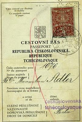 První strana cestovního pasu a šetření o pobytu