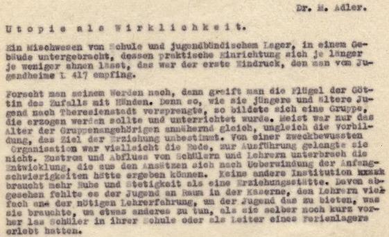 Úvod jeho textu ve sbírkách Židovského muzea v Praze