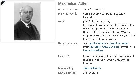 Jeho záznam na geneaologickém webu