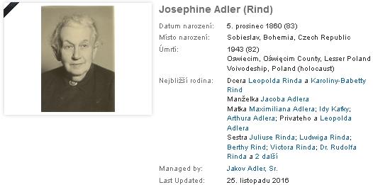 Záznamy jeho otce a matky na geneaologickém webu
