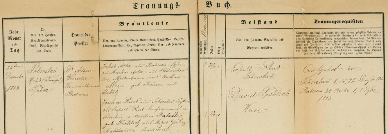 Záznam o svatbě rodičů v soběslavské židovské matrice