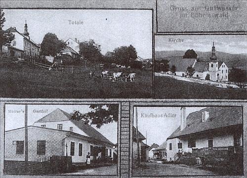 """Na pohlednici z roku 1915 je zachycen i """"Kaufhaus Adler"""", kde se roku 1884 narodil"""