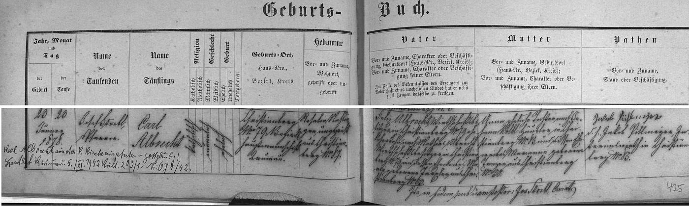 Záznam o jeho narození v křišťanovské křestní matrice s přípisem o vystoupení z katolické církve