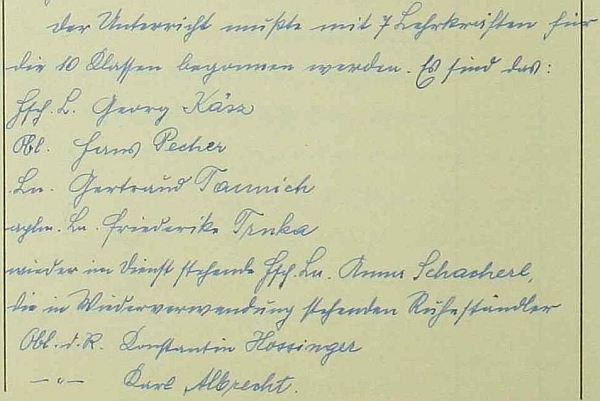Ve školním roce 1940/1941 se již z důchodu vrátil k učení, tentokrát v Českém Krumlově