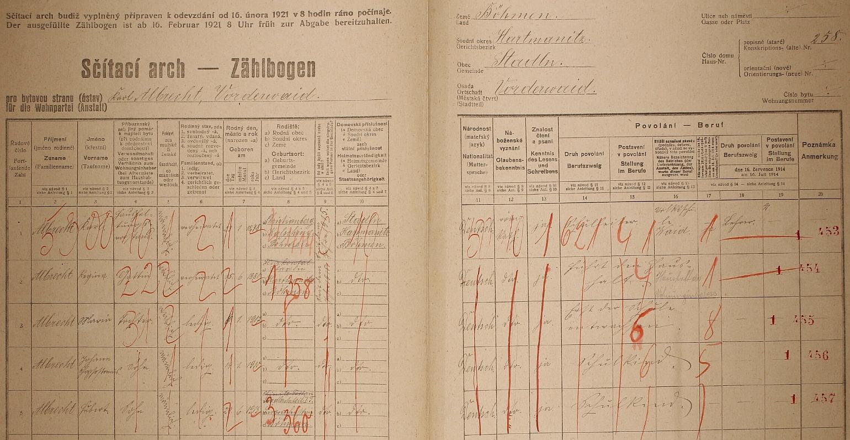Arch sčítání lidu z roku 1921 pro školu v Předních Paštích