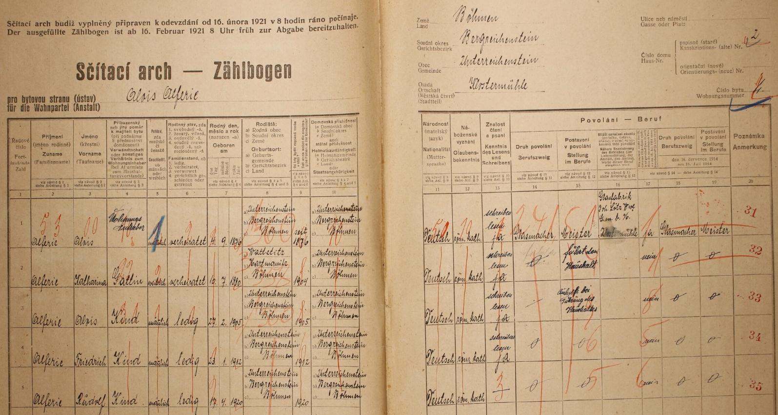 """Arch sčítání lidu z roku 1921 pro dům čp. 2 v Klášterském Mlýně s rodinou """"Alferie"""" a také s ním"""