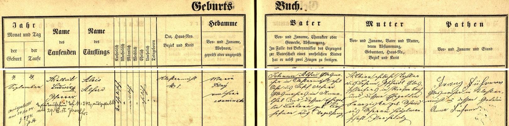 Záznam rejštejnské křestní matriky o narození otcově