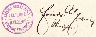 Podpis s razítkem z čachrovské školní kroniky