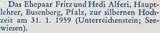 Připomínka stříbrné svatby Heidi a Fritze Alferiových na stránkách krajanského měsíčníku