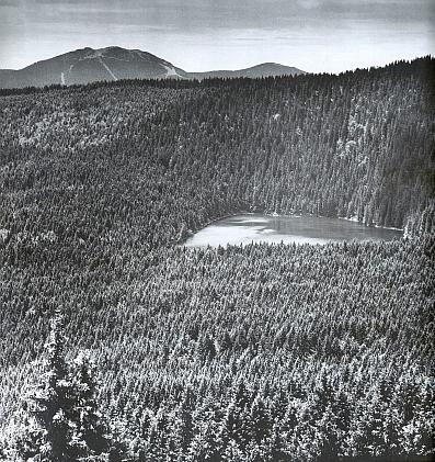Čertovo jezero při pohledu ze Špičáku, vzadu Velký a Malý Javor