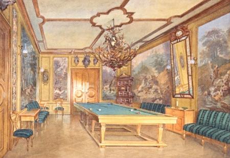 Zámeček Žofín na jiném akvarelu Aloise Gustava Schulze a kulečníkový sál v něm na akvarelu Friedricha Ströbela (1814-1863)
