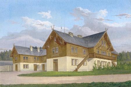 Akvarel Aloise Gustava Schulze (1805-1860) z poloviny 19. století zachycuje boční dřevěnou pavlač se schody, pod kterou Almesberger na snímku výše stojí
