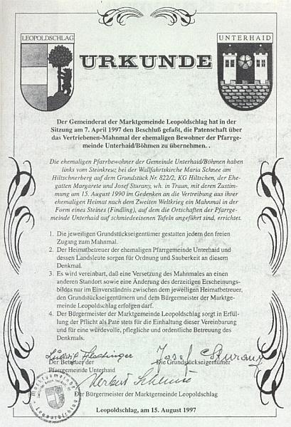 Jím podepsaná listina o patronátu rakouské obce Leopoldschlag nad někdejšími německy hovořícími obyvateli Horního Dvořiště