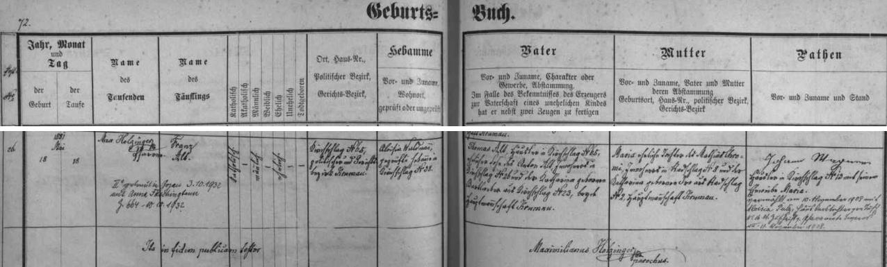 Záznam o narození otcově v křestní matrice farní obce Světlík s přípisem o jeho druhé svatbě v Kájově