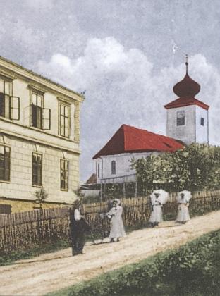 Kostel ve Svaté Kateřině na staré kolorované pohlednici