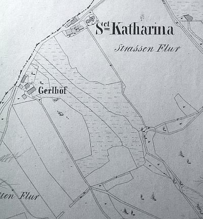 Mapa stabilního katastru z roku 1837 zachycuje ikostel aGerlhof blízko něj